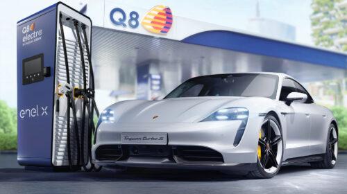 Partnership tra Q8, Enel X e Porsche per le colonnine di ricarica ultrafast